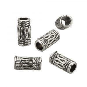 10x5x5mm Cylindriska Antik Silverfärgade Mässingspärlor
