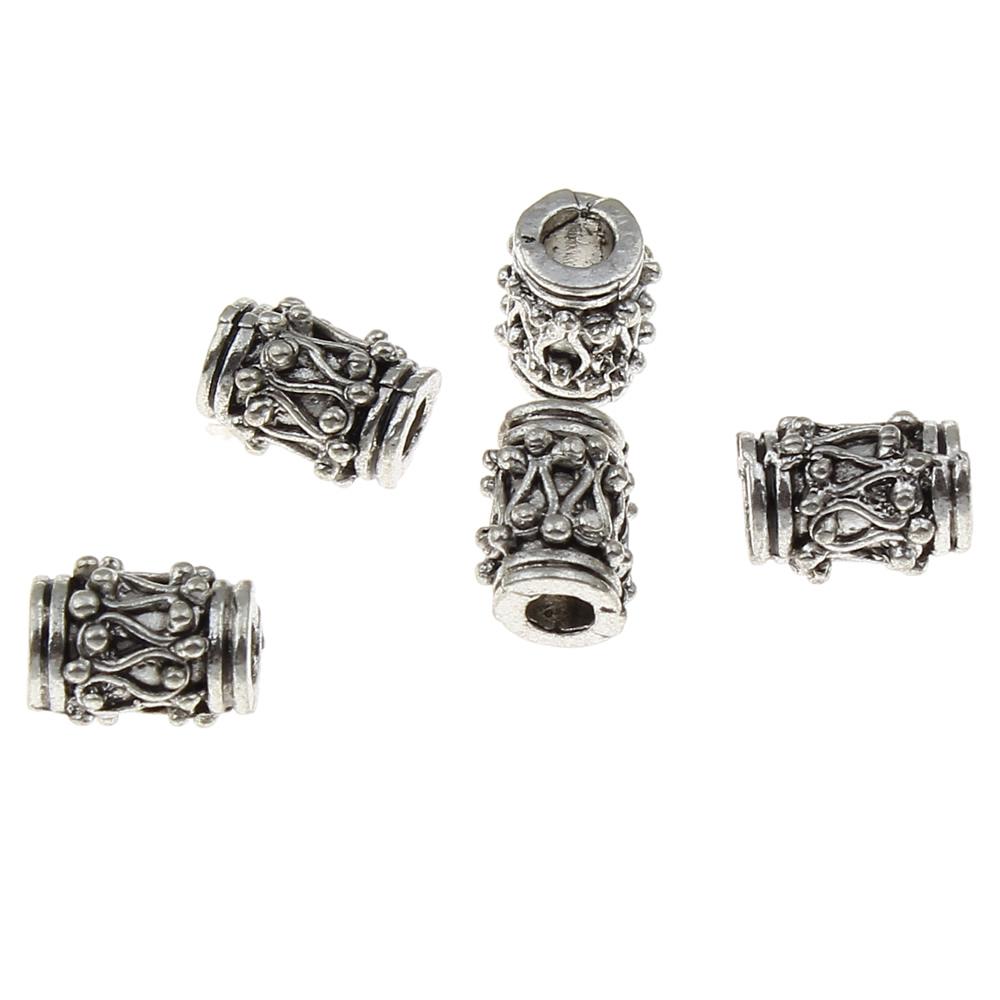 8x6mm Cylindriska Antik Silverfärgade Mässingspärlor