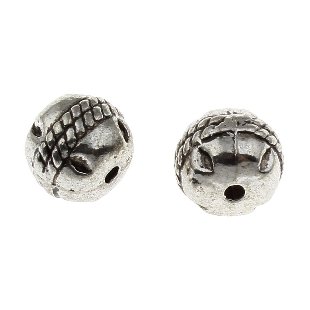 10x9mm Cylindriska Antik Silverfärgade Mässingspärlor
