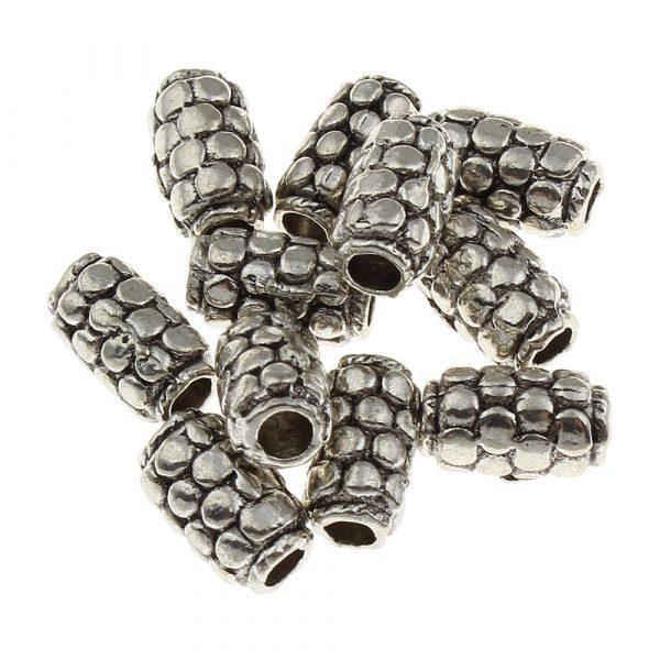 5x9mm Cylindriska Antik Silverfärgade Mässingspärlor