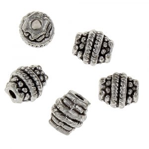7x6,5x6,5mm Oval-Runda Antik Silverfärgade Mässingspärlor