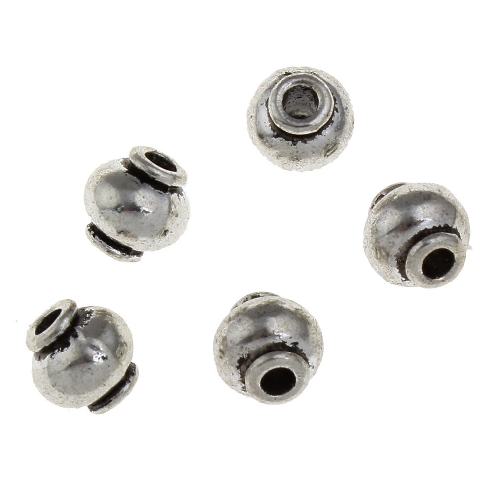 8mm Runda Antik Silverfärgade Mässingspärlor