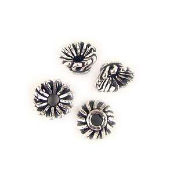8x4mm Runda Kupade Tråd Antik Silverfärgade Metallpärlor