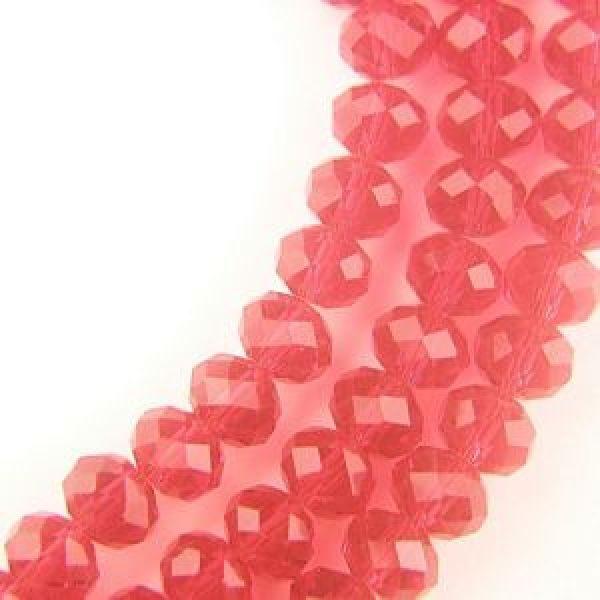 8x6mm Runda Röda Fasetterade Kristallglaspärlor