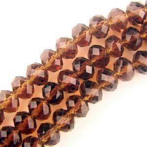 8x6mm Runda Mörkt Bärnstensbruna Fasetterade Kristallglaspärlor