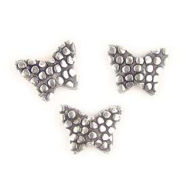 11x9x3mm Fjärilsformade Antik Silverfärgade Metallpärlor