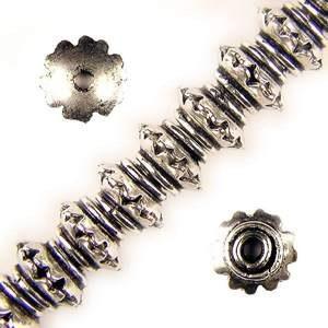 8x4mm Kupade Sexbladiga Antik Silverfärgade Metallpärlor